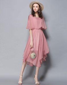 #VIPme (VIPSHOP Global) - #LETDIOSTO Pink Round Neck Short Sleeve 3/4 Length Women's A Line Dress - AdoreWe.com