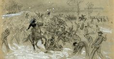 """""""A Desperate Snow Battle"""" > D Augustus Dickert, Winter 1862-63 (by way of Civil War Trust) ... A large-scale fight of a different stripe; but nonetheless epic ..."""