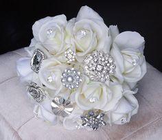 Broche de seda boda Bouquet - tacto Natural rosas y ramo de novia joya broche - Rhinestones