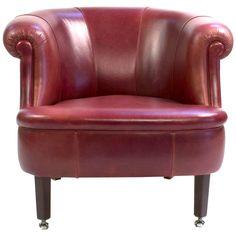 Red Leather Poltrona Frau Lyra Club Armchair by Renzo Frau, Modern, Italy