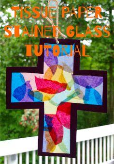 Tissue paper stained glass suncatcher tutorial
