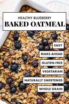Healthy Recipes Make one batch of this HEALTHY blueberry baked oatmeal recipe and enjoy baked oatmeal for the rest of the week! It's made with old-fashioned oats, blueberries and warming spices! It's naturally sweetened with maple syrup, too. Baked Oatmeal Recipe With Blueberries, Baked Oatmeal Recipes, Baked Blueberry Oatmeal, Blueberry Recipes With Almond Flour, Baked Oatmeal Bars, Healthy Baked Oatmeal, Baked Oatmeal Casserole, Oatmeal Breakfast Bars Healthy, Blueberry Oat Bars
