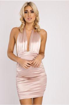 20b8df4b52 CAYA ROSE SATIN HALTERNECK PLUNGE DRESS Plunge Dress