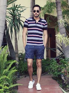 Polo shirt by Lacoste  Anchor shorts from Topman at Topshop  Sneakers from Forever21  Aviator sunglasses by Ray-Ban