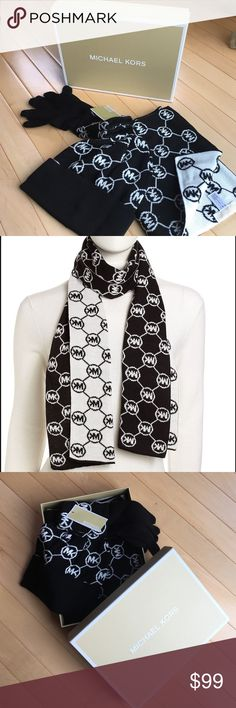 ✨MICHAEL KORS✨Hat, Gloves, Scarf 3-piece Gift Set MICHAEL KORS beautifully boxed hat, scarf, and gloves - 3 piece gift set.  Black and white MK circle logo pattern.  Priced separately - gloves cost $42, hat costs $42, and scarf is $58.  Brand new with tags.  Great gift idea🎄😊!!! Michael Kors Accessories