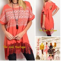 COMING SOON! Tribal Print Fringe Top Like this listing to be notified upon arrival The Gold Boutique Tops Blouses