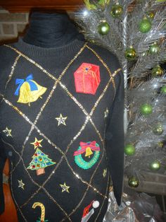 argile preppy vintage ugly tacky christmas sweater with gems, beads and sequins size large