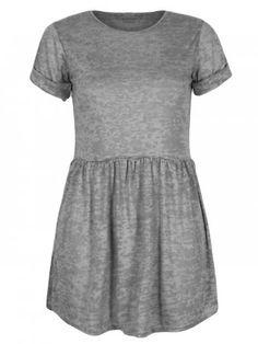 Charcoal Short Sleeve Doll Marl T-Shirt Skater Mini Dress £11.99
