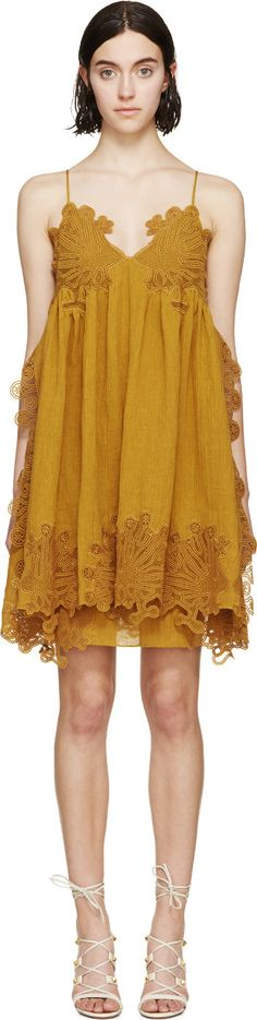 Chloé - Yellow Embroidered Camisole Dress