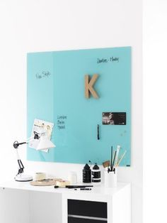 Naga 40X60cm Magnetic Glass Writing Board - Turquoise