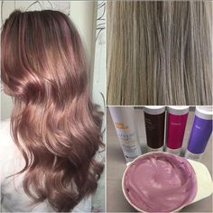 Antique Rose Gold ✨ A great tone to add a fashion colour without going too bright ✨using milk_shake direct colour in equal parts brown / fuchsia / lilac