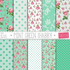 "Floral digital paper : ""Mint Green Shabby"" shabby chic digital paper with pink roses on green background, floral digital backgrounds"