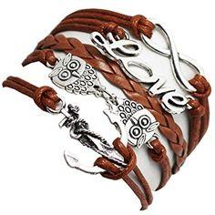 Damelie Eule Armband aus Leder in unterschiedlichen Styles
