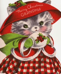 Vintage 1950s Merry Christmas Grandma Pussy Cat Christmas Greetings Card (B1)