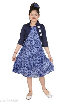 Checkout this latest Frocks & Dresses Product Name: *Kids Jacket Frock Set* Fabric: Cotton Blend Sleeve Length: Sleeveless Pattern: Printed Multipack: Single Sizes: 2-3 Years (Bust Size: 17 in)  3-4 Years (Bust Size: 18 in)  4-5 Years (Bust Size: 18.5 in)  5-6 Years (Bust Size: 20 in)  6-7 Years (Bust Size: 22 in)  7-8 Years (Bust Size: 24 in)  Country of Origin: India Easy Returns Available In Case Of Any Issue   Catalog Rating: ★3.9 (915)  Catalog Name: Flawsome Classy Girls Frocks & Dresses CatalogID_4629454 C62-SC1141 Code: 092-21833956-999