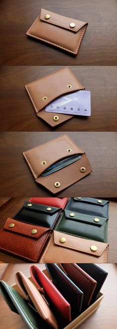 Handmade super simple card wallets, made from premium full grain leather. Multi color options.