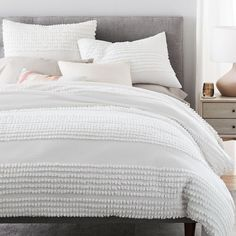 West Elm offers modern furniture and home decor featuring inspiring designs and colors. Create a stylish space with home accessories from West Elm. Modern Duvet Covers, White Duvet Covers, Bed Duvet Covers, Modern Bedding, King Size Duvet Covers, Duvet Covers Queen, White Duvet Cover Queen, Modern Bedroom, Graphic Design Magazine