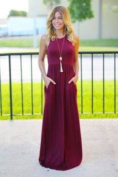 SO IN LOVE! We are obsessing over this Burgundy Maxi Dress With Pockets! The color is gorgeous and perfect for fall and winter! Such a flattering style and cozy pockets! - 95% Rayon - 5% spandex - App