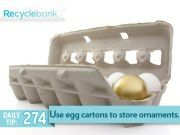 Start saving them now! Use egg cartons for ornament storage.