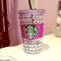 Bedazzled Starbucks cold cup pink OS from Kasia& closet on Poshmark Starbucks Frappuccino, Starbucks Tumbler, Starbucks Coffee, Drink Coffee, Scrapbook Cover, Posh Girl, Girly Girl, Water Bottle Design, Girly Things