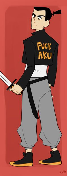 """But I'm Cute - My heart cries for Jack wearing modern clothing.<< Aku sees the shirt and says """"yes I bet you do wanna f me"""" Samurai Jack, Johnny Bravo, Modern Clothing, Beautiful Stories, Modern Outfits, Adult Humor, Character Design, Cartoons, Hero"""