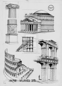 Roman Architecture by dedeyutza on DeviantArt - Although the Romans architectural ideas of structure have always fascinated me, some of their plans - Architecture Antique, Architecture Classique, Architecture Drawing Plan, Architecture Drawing Sketchbooks, Architecture Drawing Art, Romanesque Architecture, Roman Architecture, Classic Architecture, Historical Architecture