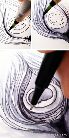 Lovely ink and water feathers