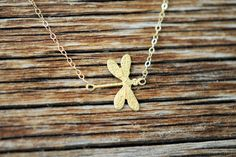 14k Gold Dragonfly Necklace Gold Dragonfly by LaceCharming on Etsy