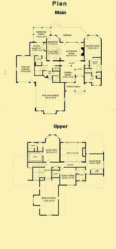 3800 Tudor Style House Plans, English House Plans, Tudor Floor Plans
