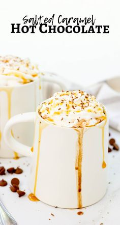 Salted Caramel Hot Chocolate - - Salted Caramel Hot Chocolate is delicious mix of milk chocolate chips, caramel sauce, sea salt, heavy cream, and whole milk topped with a dollop of whipped cream and drizzle of caramel. Salted Caramel Hot Chocolate, Crockpot Hot Chocolate, Frozen Hot Chocolate, Hot Chocolate Cookies, Homemade Hot Chocolate, Hot Chocolate Bars, Mexican Hot Chocolate, Chocolate Caramels, Hot Chocolate Recipes
