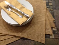 Burlap Placemats  set of 4  Party by CustomHollyDavidson on Etsy, $22.99