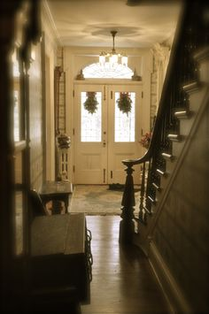center hall, open staircase, historic home
