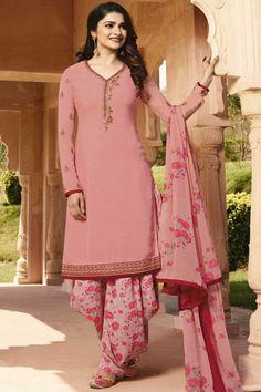 9b581158e7 Hand Embroidered Crepe Peach Pink Patiala Suits - LSTV0442 Eid Dresses,  Pakistani Dresses, Indian