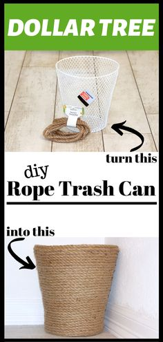 This adorable Rope Trash Can is made completely from Dollar Tree items! Modern Dollhouse Furniture, Dollar Tree Decor, Handmade Christmas Decorations, Do It Yourself Projects, Dollar Store Crafts, Hacks Diy, Diy Painting, Diy Tutorial, Wicker