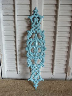 Iron Wall Decor Fleur De Lis, Aqua Blue, Wall Hanging, Shabby and Chic Decor, Parisian Apartment Decor
