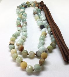 Natural Amazonite Necklace Amazonite Beaded Leather by PetitDepot