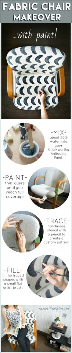 How to paint upholstery fabric! DIY patterned chair makeover using @ChalkWorthy. Way easier and cheaper than reupholstering, AND allows you endless thrifting & recycling furniture possibilities.