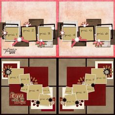 4 Premade Scrapbook Pages