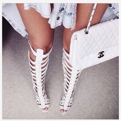 Gladiator sandals x chanel bag