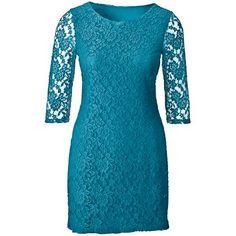 Türkises Kleid mit Spitze 29,99 € ♥ Hier kaufen: http://www.stylefruits.de/kleid-mit-spitze-bodyflirt/p4536753