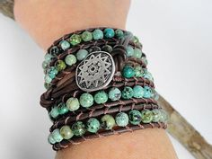 Mint Julep Leather Wrap Bracelet bohemian door WrappedInLeather