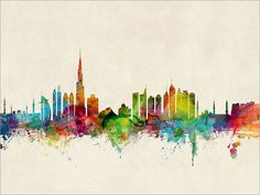 Skyline de Dubai Emiratos Árabes Unidos Dubai por artPause en Etsy