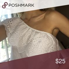 White one-shoulder sleeved top White summery, eyelet design, one-shoulder sleeve, scallop edge, fits like a small Abercrombie & Fitch Tops Blouses