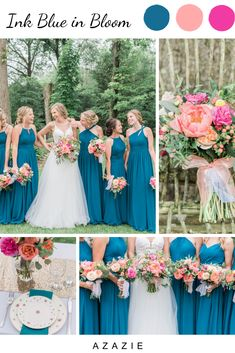 Ink Blue Azazie Bridesmaid Dresses One of hottest wedding colors, Azazie's Ink Blue is beautifully accented by coral and fuschia flowers in this Azazie bride's color palette. Wedding Color Pallet, Wedding Color Schemes, Color Themes For Wedding, Colors For Weddings, Spring Wedding Themes, Wedding Color Palettes, Blue Weddings, Cute Wedding Ideas, Wedding Inspiration