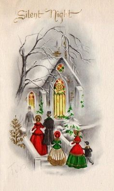 We gather together. Vintage Christmas Photos, Old Fashioned Christmas, Christmas Scenes, Christmas Past, Victorian Christmas, Retro Christmas, Christmas Pictures, Vintage Greeting Cards, Christmas Greeting Cards