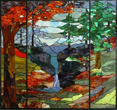 Want to be in this landscape. Right. This. Minute.  STAINED GLASS WINDOW PANELS ~ Wildlife and Nature