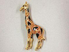 Elegant Trifari Rhinestone and Enamel Giraffe Pin by COBAYLEY