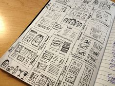 UI & Wireframe Sketches for your Inspiration - Web Design Ledger Wireframe Mockup, Wireframe Design, Design Ios, Graphic Design, Flat Design, Design Thinking, Work Flow Chart, Sketch Website, Motion Design