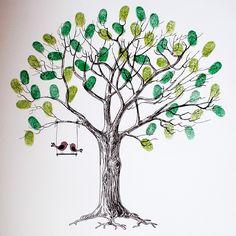 Tree Wedding, Our Wedding, Thumbprint Tree, Fingerprint Tree, Tree Art, Artwork, Image, Amulets, Bunting