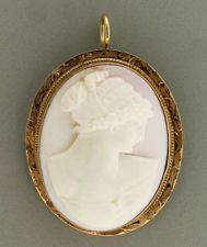 Hand Carved Angel Skin Coral Cameo Pendant/Brooch Mounted In A 10k Yellow Gold Frame